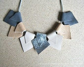 Statement Necklace-Beige Grey and Silver