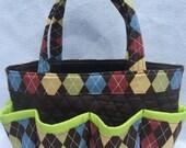Argyle print bingo bag great for craft and make-up organizer
