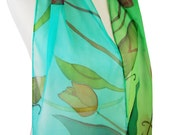 Green Spring Long Silk Scarf Tulip Time Mother Day. Inspired By Holland Tulip Time Festival. Salag Green and Teal Green. Tulips Scarf.