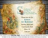 Vintage Peter Rabbit Boy Birthday Invitation - Blue, Printable, Digital
