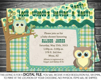 Boys Baby Shower Invitation in Owl Theme - Green, Blue, Printable, Digital
