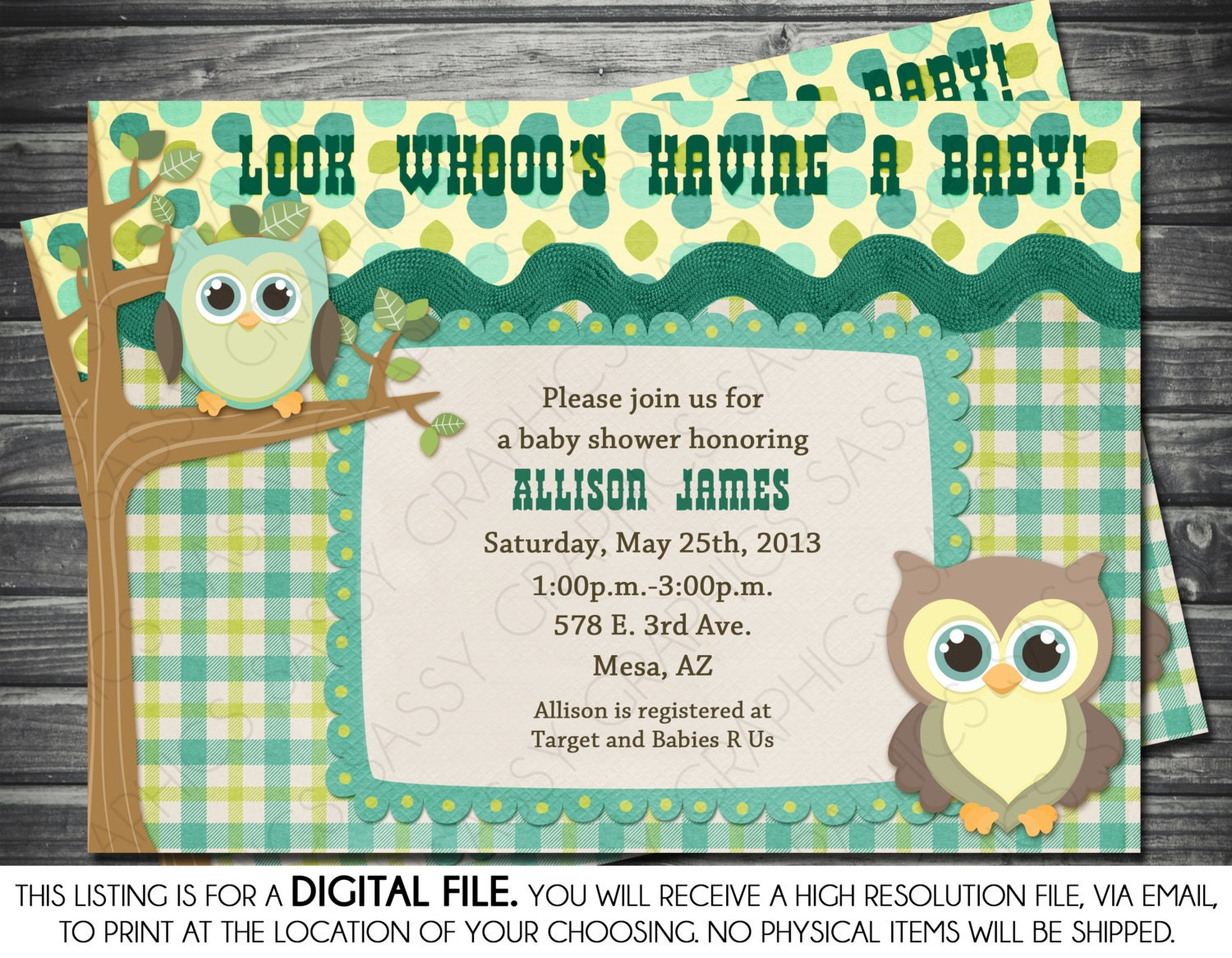 boys baby shower invitation in owl theme green blue
