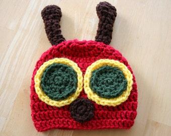 Caterpillar Hat, crochet photo prop, hungry caterpillar hat, newborn photo prop, crochet caterpillar cap, Newborn to 12 Months