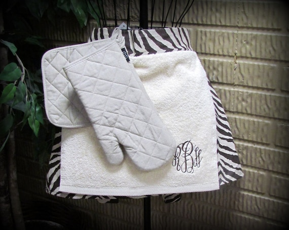 Brown Tiger Half Apron with Attached Towel