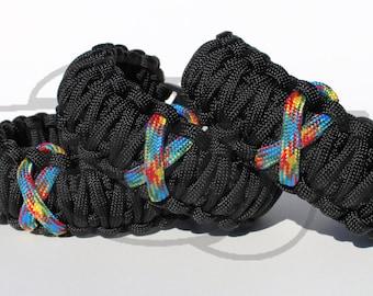 Aspergers Autism Puzzle Awareness Ribbon on King Cobra 550 Paracord Survival Strap Bracelet Anklet with Buckle