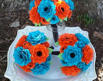 Paper Bouquet - Wedding Bouquet - Paper Flower Bouquet - Customize Your Colors - Blue and Orange - Made To Order