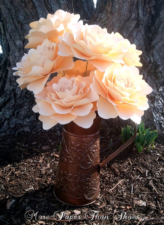 Paper Flowers - Table Decorations - Wedding Decorations - Centerpiece - Stemmed -  Extra Large - Set of 20 - Made To Order