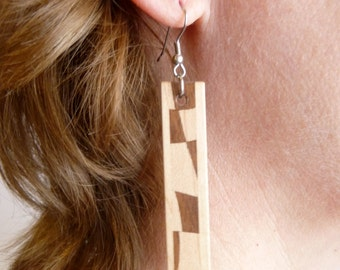 Solid Wooden Earrings, Wood Jewellery, One of a kind,  Paul Szewc, Masterpiece Laser