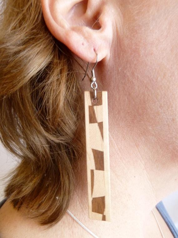 Solid Wooden Earrings, Wood Jewellery, One of a kind,  Paul Szewc, Masterpiece Laser