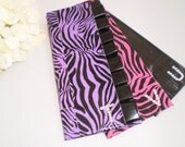 RUFFLED PERSONALIZED BRIDESMAID Gifts Purple Zebra Duct Tape Wallet with Black Ruffle