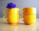 Vintage Melitta Yellow Orange Tea Coffee Cups Germany Set of 4