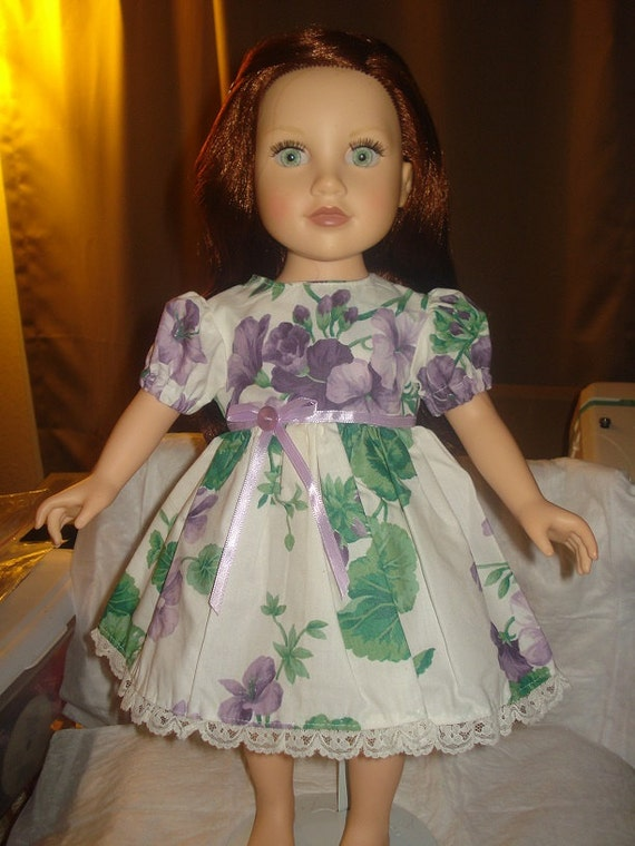 Lovely purple floral full dress with lace for 18 inch Dolls - ag17