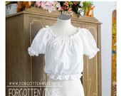 SALE 80s - Miss Pleasant -  white mid drift  and cap sleeve peasant blouse - size S