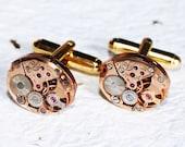 OMEGA Steampunk Cufflinks -Genuine Omega Luxury Swiss Vintage Watch Movement Matching Men Steampunk Cufflinks Cuff Links Men Wedding Gift