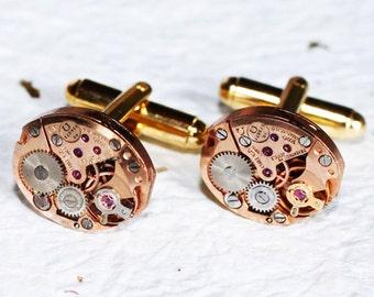 OMEGA Steampunk Cufflinks -Genuine Omega Luxury Swiss Vintage Watch Movement Matching Men Steampunk Cufflinks Cuff Links Wedding Gift