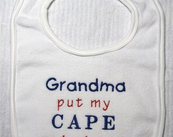 Baby Bib-  Embroidery and appliqued cape on backwards