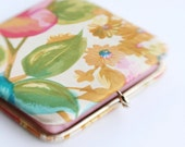 Vintage 60's Floral Satin Double Mirror Purse Compact