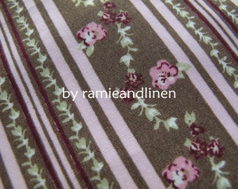"""Floral Stripes print cotton fabric, half meter by 43"""" wide, quilting fabric, patchwork fabric"""
