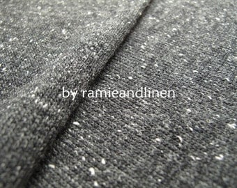 "knit fabric, wool cotton blend black and grey speckled fabric, half yard by 48"" wide"