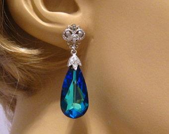 Blue Wedding Earrings, Something Blue Bridal Earrings, Swarovski Crystal Blue Earrings, Blue Crystal Earrings, Wedding Jewelry