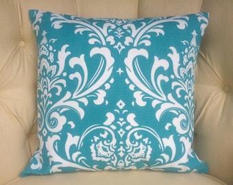 "Pillow Cover , Toss Pillow, Amsterdam, Print, Tourquise,  Natural 20""x20"""