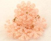 Vintage Celluloid Brooch 1940s 1930s Pink Snowflake Huge