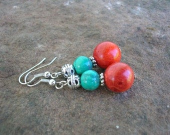 bohemian earrings coral and turquoise dangle ear earrings beaded dangle earrings stone earrings silver