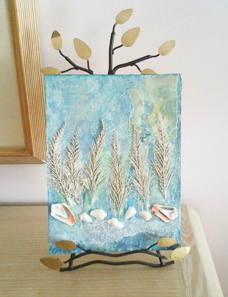 Seashell Art Collage Art Painting Mixed Media On Canvas Panel