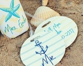 SEASIDE round luggage tags with custom name - set of 2