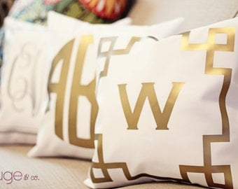 METALLIC monogrammed throw pillow - 14x14 - copper, gold or silver - select monogram and border