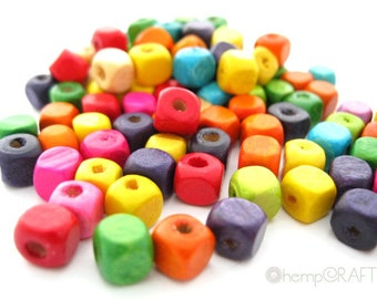 Wood Cube Beads, Assorted Multicolor, 50pc, 5-6mm