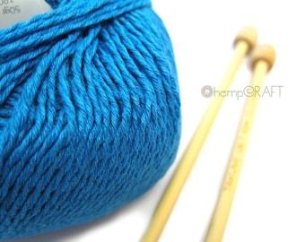Hemp Cotton Yarn, Deep Aqua Blue, 130yd Hemp/Cotton/Modal Blend