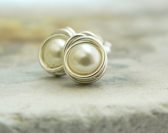 Pearl stud earrings, post earrings, wire wrapped jewelry, bridesmaid earrings
