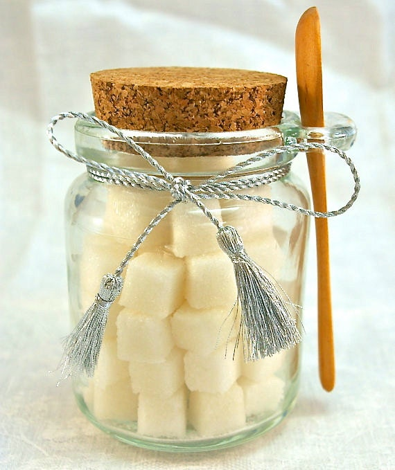 Flavored Sugar Cubes- Glass Jar with Wooden Spoon for Tea Parties, Champagne Toasts, Favors, High Tea, Coffee, Mad Hatter Tea Party, Shower