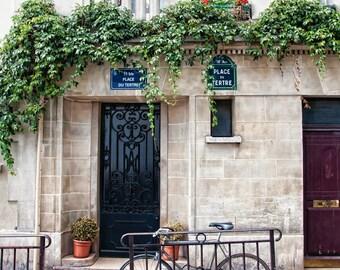 Paris Print Set of 3 - Montmartre, Marais, French Cafe - Neutral palette - street scenes - gray, taupe, blue - Fine art photos - Wall art