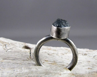 Raw Smoky Blue Aquamarine Crystal Fine and Sterling Silver Ring