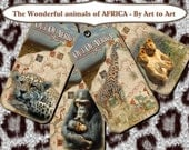 OUT of AFRICA animals TaGs for crafts scrapbooking cards gift favors instant download 336