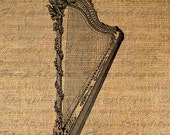 French MARIE ANTOINETTEs Harp Musical Instrument Paris Digital Image Download Transfer To Pillows Tote Tea Towels Burlap No. 4434