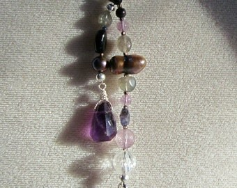 Protection - Violet Natural Stone and Crystal OOAK Crown Chakra Healing Lariat Necklace