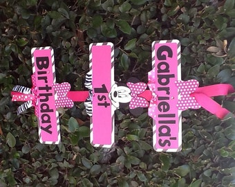 Minnie Mouse Party Sign - Zebra Print/Hot Pink