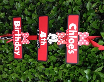 Minnie Mouse Party Sign - Black/Red/Red and White Polka Dots