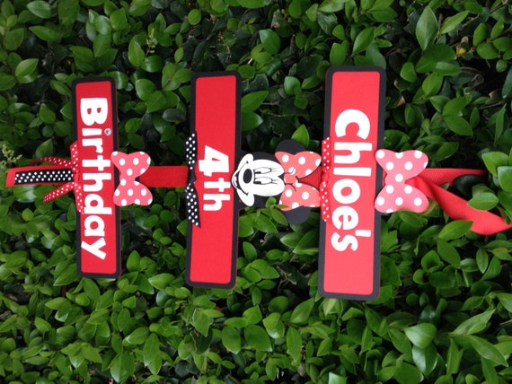 Minnie Mouse Party Sign BlackRedRed and White Polka Dots