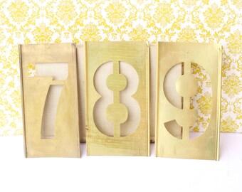 789 Brass Stencil Metal Old Industrial Display Decor Cottage Chic