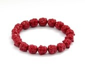 10mm Stretchy Imitated Red Coral Tibet Buddhist Laughing Buddha Head Beads Bracelet  T2921