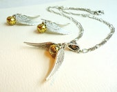 Steampunk Gold Orb & Silver Wings Necklace and Earrings Set