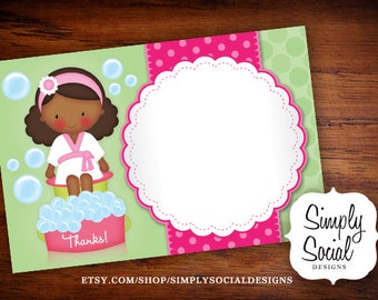 INSTANT DOWNLOAD Printable Kid's Spa Thank You Card