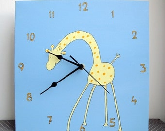 Children's Wall clock- Yellow giraffe - blue and orange clock for nursery/ kids room/ kitchen clock - Hand painted on canvas