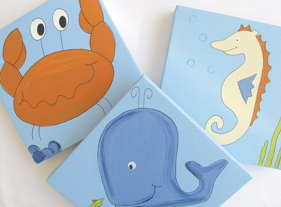 Kids wall art- 3 paintings- Sea bunch- crab, seahorse and whale- blue and orange wall decor on canvas, children decor