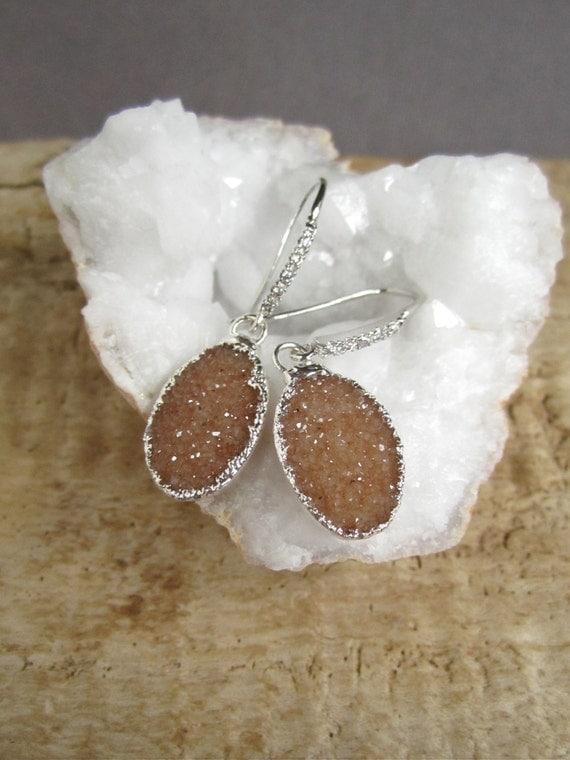Copper Druzy Earrings Drusy Quartz Sterling Silver Drops