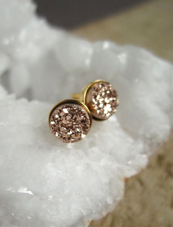 quartz studs blue item sliver sparkly natural earrings shiny drusy earringswhite stone druzy stud cluster rainbow